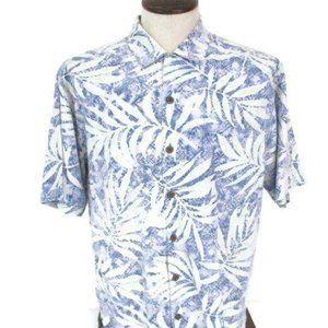 Tommy Bahama Blue Palm Print Silk Shirt Medium